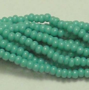 Turquoise Green Opaque Czech 6/0 Seed Bead on Loose Strung 6 String Hank Approx 900 Beads