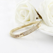 Designer Jewellery New Design Delicate Gold Colour Alloy Twined Knitted White Rhinestone Elastic Bracelets For Women