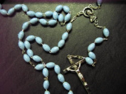 Rosarybeads Light Blue Oval Rosary Beads Rosaries Silver Coloured Metal Chain And Cross Crucifix