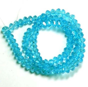 6x4mm Aqua Blue Lustre Crystal Glass Faceted Fluted Fluted Machine Cut Rondelle Beads. Approx 100 Piece 16 Inches of Beads