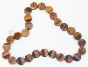 "Tiger's Eye 16"" Strand of 16mm Round Disc Coin Beads"