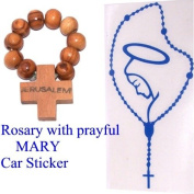 Large Transparent Rosary with Blessed Mother Mary sticker for your car (18 x 9 cm - 7 x 3.5 inches) + Olive wood Finger Rosary from Bethlehem