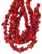 Bead Collection 40289 Coral Chips Red Beads, 70cm