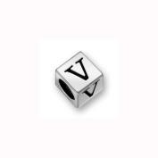 Charm Factory Pewter 7mm Alphabet Letter V Bead