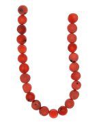 Tennessee Crafts 1296 Coral Red Bamboo Coral Flat Round Beads, 8mm