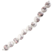 Fiona 100511 Series 8-Inch Porcelain Beads Strand, Sakura Printed on 18mm Round Porcelain Beads