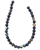 Tennessee Crafts 1043 Semi Precious Banded Black Onyx Beads, Round, 6mm