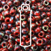 Picasso Red Garnet Matte 22 Grammes Miyuki Round Rocailles 8/0 Seed Bead Approx 22 Gramme Tube