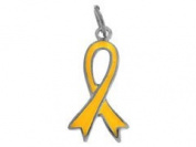 Sterling Silver Yellow Enamelled Ribbon Charm