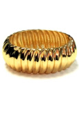New Ridged Classic Gold Tone Hinged Bangle Cuff Bracelet