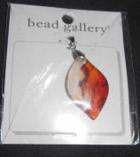 Bead Gallery Amber Banded Red Agate Stone Pendant