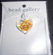 Bead Gallery 25mm Crystal Heart with Amber Flower Glass Pendant