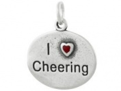 Sterling Silver I Love Cheering Cheerleading Charm