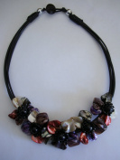 Flower Collar Necklace-Purple