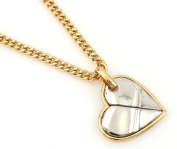 Hip-Hop Iced Gold-Silver Two Tone Heart Pendant Necklace Free 60cm chain