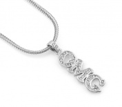 Hip-Hop Iced Silver Tone O My God Pendant Necklace Free 60cm chain
