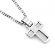 Hip-Hop Iced Silver Tone Square Box Cross Pendant Necklace Free 60cm chain