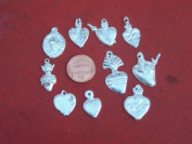 Milagro Lot - 25 ALL HEARTS Mexican Milagros, Silver Colour