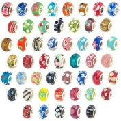 20 Pc Lot .925 Silver Lampwork Murano Glass European Mix Beads - Compatible with Pandora, Chamilia, Troll, Biagi