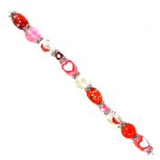 Fiona SUP-02-2 7-Inch Valentine Beads Strand with 13mm by 18mm Oval Heart Glass Beads