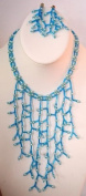Hand Made Lady BIB Necklace Chandelier Earring Blue Glass Pearl