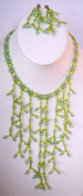 Hand Made Lady BIB Necklace Chandelier Earring Green Glass Pearl