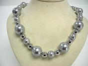 Victoria Creations 46cm Faux Grey Pearl & Silver Tone Bead Necklace