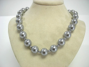 """Victoria Creations 18"""" Strand 13mm Faux Grey Pearl Necklace"""