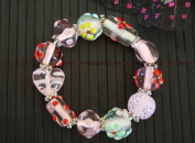 Valentine Pink Heart With Fiori Deco Handmade Lampwork Glass Stretch Bracelet