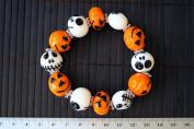 Halloween Theme Lampwork Glass Bead Stretch Bracelet