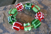 Christmas Gift Box Lampwork Glass Bead Stretch Bracelet