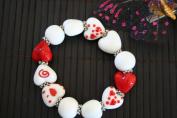 Valentine White Red Heart Handmade Lampwork Glass Stretch Bracelet