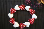 Valentine Red Heart With White Spots Handmade Lampwork Glass Stretch Bracelet