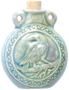 Peruvian Hand Crafted Ceramic Raku Glazed Raven Bottle Pendant, 40 by 48mm