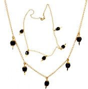 Azabache Chain with 5 polished stones. Gold filled 46cm long
