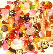 50 pcs Mixed Food kawaii flat back resin cabochons DIY decoration Cell Phone Nail Art Beauty Ornament Design hair snap beads resin beads (IMG3910