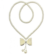 Kate Marie Elegant Artificial Pearl Necklace in Butterfly Design Enchanted with Rhinestone.