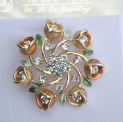 Designer Ladies Fashion Pin Brooch Ornament-Ladies Ornament Flowers Design, Gorgeous Rhinestones Design Gold Ring,Size 4.4cm x 4.4cm ,Super Saving,Special Discount, .  d !