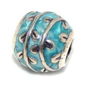 ".925 Sterling Silver ""Blue Enamel Barrel w/ Vines"" Charm for Snake Chain Charm Bracelets"