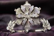 Princess Bridal Wedding Tiara Crown with White Crystal Flower DH12107