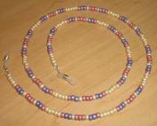 Matte Metallic Cream Violet Pink Czech Bead Mix Eyeglass Chain