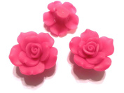 New 10 Large Fimo Flower Rose Beads 40mm Medium Fuschia