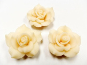 New 10 Large Fimo Flower Rose Beads 40mm Light Beige