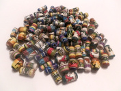 100 Peruvian Handpainted Abstract Design Ceramic Beads Tubes Ovals Rounds Assorted Colours