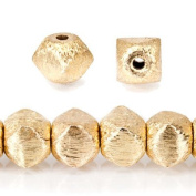 22kt Gold Plated Copper Brushed 6mm Faceted Nugget beads 8 inch strand approx 35pcs/string