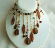 Choker Brown Glass Beads Necklace