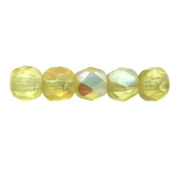 Mode Beads Czech Glass Fire Polished Beads, 300 Beads, Amber Matte AB
