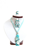 Fashion Ring, Earring & Necklace Jewellery Set (Turquoise )-#150