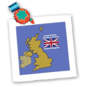 777images Flags and Maps - Map and Flag of the United Kingdom with Great Britain and Northern Ireland - Quilt Squares