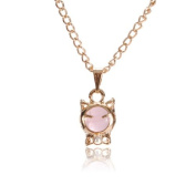 Pink Lucky Cute Opal Smeil Cat Bead Clavicle Chain Short Necklace DDStore